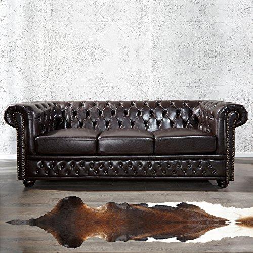 cag edles 3er sofa winchester dunkelbraun aus. Black Bedroom Furniture Sets. Home Design Ideas
