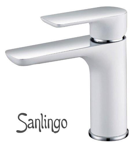 Chrom Weiß Design Badezimmer Bad Waschbecken Einhebel Armatur Sanlingo