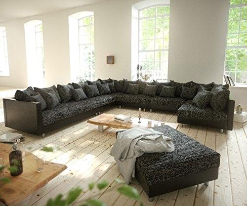 Couch Clovis XXL Schwarz mit Hocker Ottomane Links Wohnlandschaft Modulsofa
