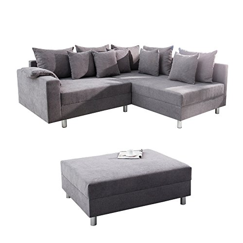 design ecksofa loft grau soft baumwolle mit hocker schlafsofa federkern sofa ottomane beidseitig. Black Bedroom Furniture Sets. Home Design Ideas