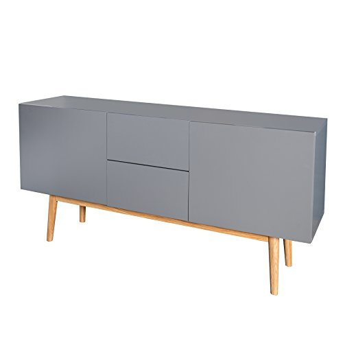 design sideboard lisboa anthrazit 150cm mit eiche f en. Black Bedroom Furniture Sets. Home Design Ideas