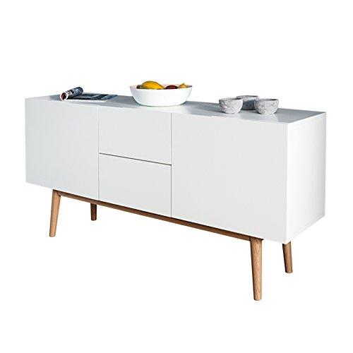 design sideboard lisboa wei 150cm mit eiche f en kommode board aufbewahrung m bel24. Black Bedroom Furniture Sets. Home Design Ideas