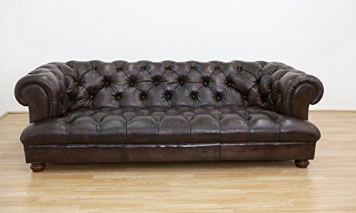 chesterfield leder sofa in hand antik dunkelbraun m bel24. Black Bedroom Furniture Sets. Home Design Ideas