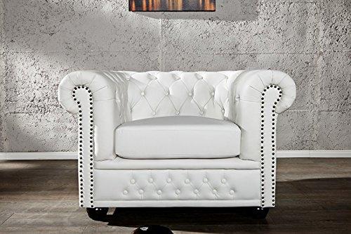 dunord design sessel chesterfield weiss kunstleder england look design polstersessel 0 m bel24. Black Bedroom Furniture Sets. Home Design Ideas
