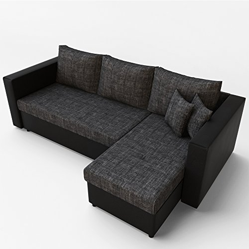 ecksofa mit schlaffunktion grau schwarz stellma 224 x 144 cm liegema 200 x 140 cm sofa. Black Bedroom Furniture Sets. Home Design Ideas