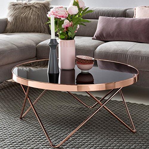 design couchtisch round 82cm rund glas kupfer runder lounge tisch verspiegelt moderner. Black Bedroom Furniture Sets. Home Design Ideas