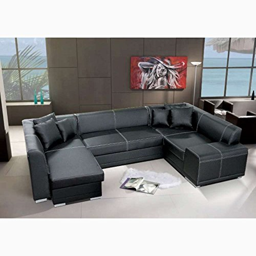justyou vera bis wohnlandschaft couchgarnitur polsterecke kunstleder farbe schwarz hxbxl. Black Bedroom Furniture Sets. Home Design Ideas