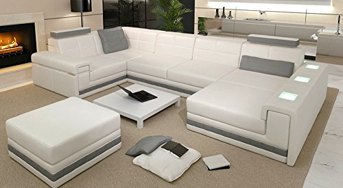 leder wohnlandschaft sofa wei grau couch ecksofa ledersofa designsofa ledercouch eckcouch u. Black Bedroom Furniture Sets. Home Design Ideas