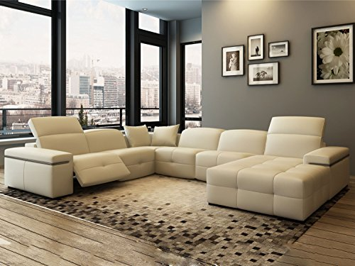 leder wohnlandschaft xxl u form mit relaxfunktion creme ledersofa georgia polsterecke. Black Bedroom Furniture Sets. Home Design Ideas