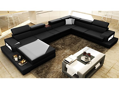 leder wohnlandschaft xxl u form schwarz ledersofa mit beleuchtung kenia polsterecke. Black Bedroom Furniture Sets. Home Design Ideas