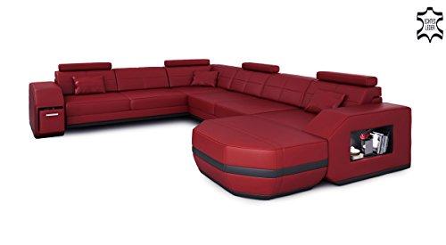 Leder Wohnlandschaft XXL weinrot / schwarz Ecksofa Leder Sofa Couch Ledersofa Ledercouch U-Form mit LED-Licht Beleuchtung Designsofa FRANKFURT