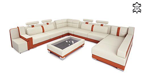 ledersofa wohnlandschaft leder xxl u form creme orange. Black Bedroom Furniture Sets. Home Design Ideas