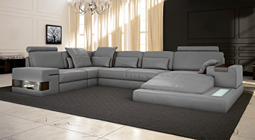 ledersofa grau wohnlandschaft leder sofa couch u form ecksofa ledercouch eckcouch mit led licht. Black Bedroom Furniture Sets. Home Design Ideas