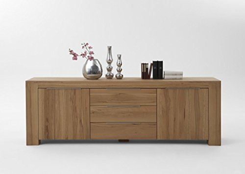 massivholz sideboard modern mit 2 tren und 3 schubladen aus eiche natur 228x50 cm dalber. Black Bedroom Furniture Sets. Home Design Ideas