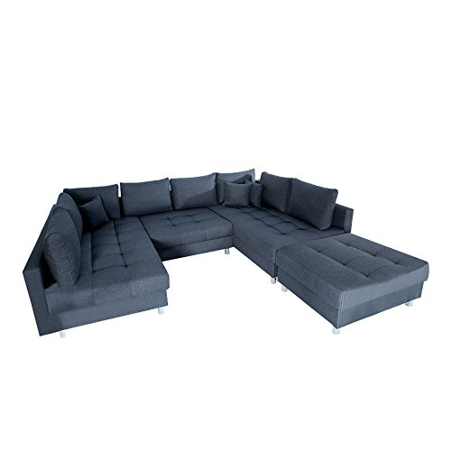moderne xxl wohnlandschaft kent 305cm anthrazit federkern inkl hocker und kissen sofa. Black Bedroom Furniture Sets. Home Design Ideas