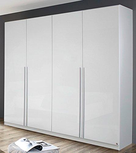 rauch kleiderschrank 4 trig mit stangengriffen front hochglanz wei breite 226 cm drehtrenschrank. Black Bedroom Furniture Sets. Home Design Ideas