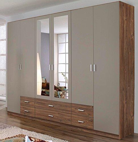 rauch kleiderschrank 6 t rig 2 spiegelt ren 6 schubk sten eiche stirling lavafarbig m bel24. Black Bedroom Furniture Sets. Home Design Ideas