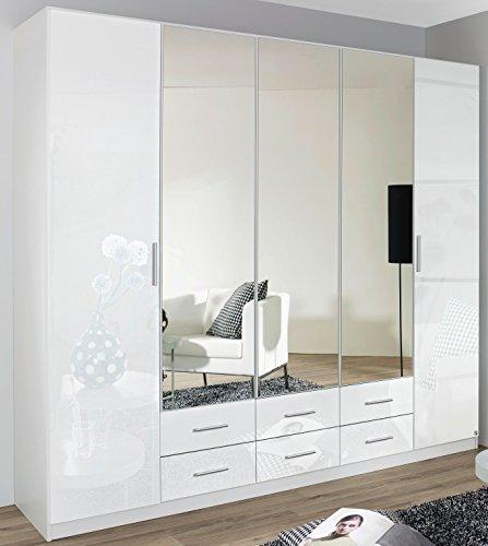 rauch kleiderschrank 6 trig 2 spiegeltren 6 schubksten hochglanz wei 0 m bel24. Black Bedroom Furniture Sets. Home Design Ideas
