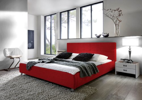 sam polsterbett bett zarah in rot 180 x 200 cm chrom. Black Bedroom Furniture Sets. Home Design Ideas