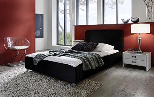 sam zarah polsterbett in 8 verschiedenen gren in wei oder schwarz bett mit gepolstertem kopfteil. Black Bedroom Furniture Sets. Home Design Ideas