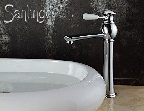 Serie AIKO Retro Bad Waschbecken Waschtisch Hohe Einhebel Armatur Wasserhahn Chrom Sanlingo Keramikgriff