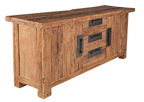 Side board mit 2 t ren und 3 schubladen aus recyceltem teak holz 180x45 cm laroc rustikales - Antike esszimmertische ...