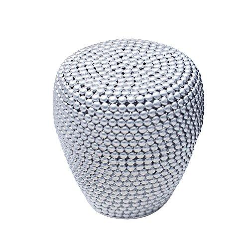Stilvoller beistelltisch pearls 50 cm silber ethno hocker for Wohnzimmertisch 50 cm