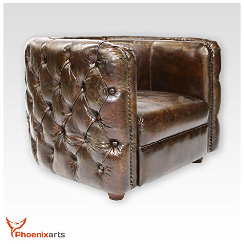vintage echtleder chesterfield ledersessel braun design. Black Bedroom Furniture Sets. Home Design Ideas