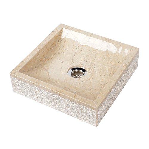 WOHNFREUDEN Marmor Waschbecken 30 cm ✓ klein recht-eckig gehämmert creme ✓ Steinwaschbecken oder Naturstein Waschbecken für Bad Gäste WC ✓ inkl. techn. Zeichnung ✓ versandkostenfrei ✓