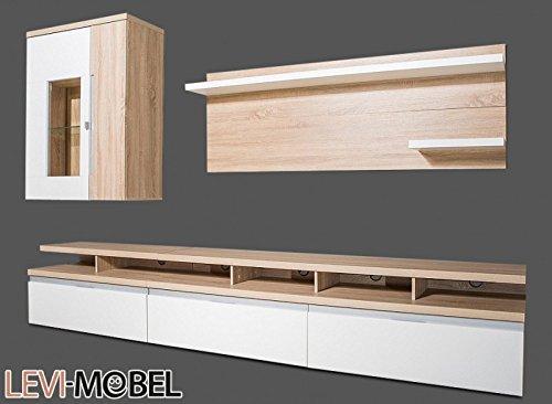 wohnwand 5 tlg wohnzimmer anbauwand eiche s gerau wei hochglanz neu 873099 m bel24. Black Bedroom Furniture Sets. Home Design Ideas