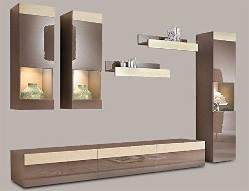 wohnwand 6 tlg anbauwand wohnzimmer cappuccino hochglanz esche neu 792581 m bel24. Black Bedroom Furniture Sets. Home Design Ideas