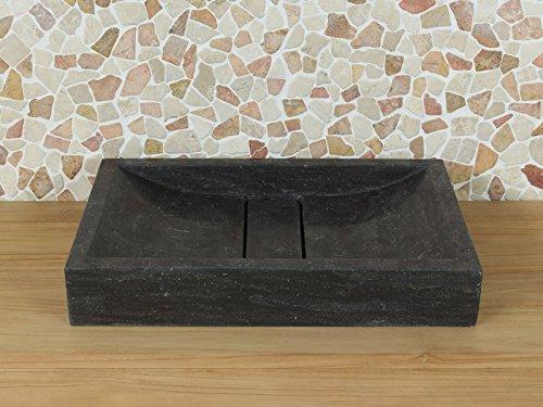 Waschbecken Naturstein Bluestone, Handwaschbecken ohne Hahnloch BE-002 60x40x10 cm.