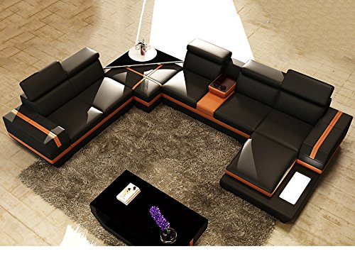 wohnlandschaft xxl leder schwarz orange york teilleder ledersofa polsterecke u form m bel24. Black Bedroom Furniture Sets. Home Design Ideas