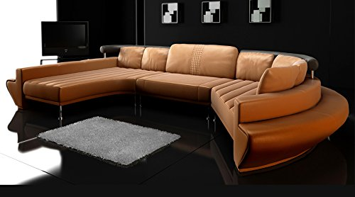 xxl wohnlandschaft u form leder braun schwarz z rich m bel24. Black Bedroom Furniture Sets. Home Design Ideas