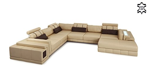 xxl wohnlandschaft leder sandbeige braun sofa ledercouch eckcouch u form designsofa mit led. Black Bedroom Furniture Sets. Home Design Ideas