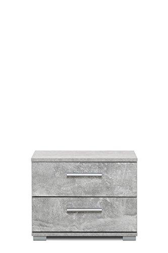 002359 Elora Beton grau Dekor Nachttisch Beistelltisch Nachtkommode mit 2 Schubladen Betonoptik ca. 45 x 35 x 34 cm