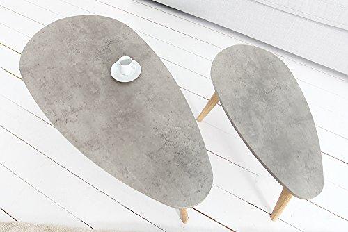 Retro 2er Set Couchtisch SCANDINAVIA CEMENT Echt Eiche Beton-Optik Tische Satztische Tischset