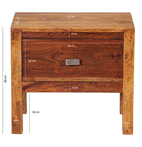 WOHNLING Nachttisch Massiv-Holz Sheesham Nacht-Kommode 40 cm 1 Schublade Ablage Nachtschrank Landhaus-Stil Echt-Holz Nachtköstchen dunkel-braun Nacht-Konsole Natur-Produkt Schlafzimmer-Möbel Unikat