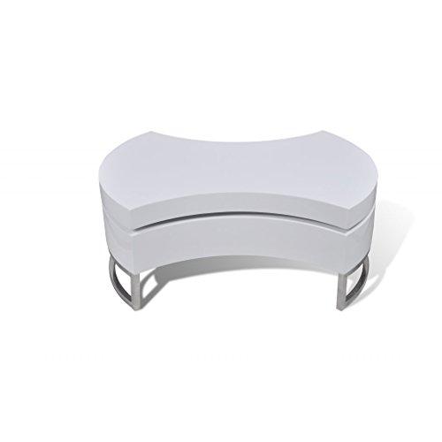 vidaxl couchtisch kaffeetisch formverstellbar hochglanz design wei m bel24. Black Bedroom Furniture Sets. Home Design Ideas
