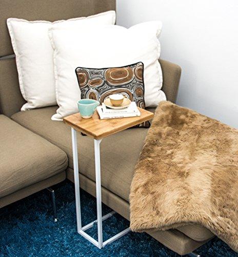 bonVIVO® Designer-Couchtisch DONNA, Beistelltisch in moderner Edelstahl-Naturholz Kombination mit Stahlgestell in weiß