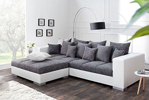 design xxl sofa big sofa island in wei grau charcoal strukturstoff inkl kissen 8 m bel24. Black Bedroom Furniture Sets. Home Design Ideas