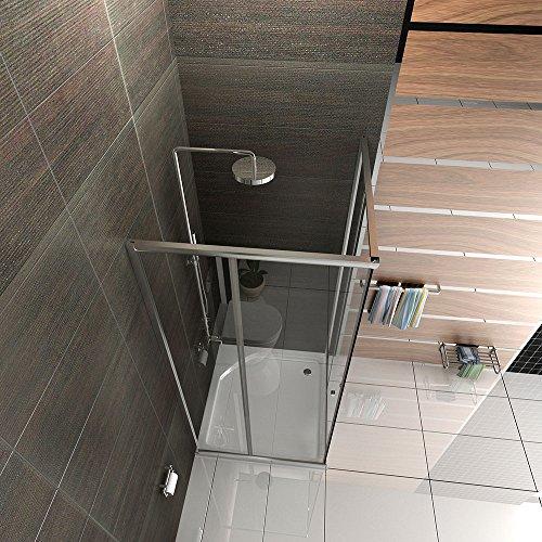 Duschabtrennung mit Rahmen Dusche Duschkabine 100x100 Alpenberger Echtglas Eckeinstieg Schiebetür Trennwand Duschwand