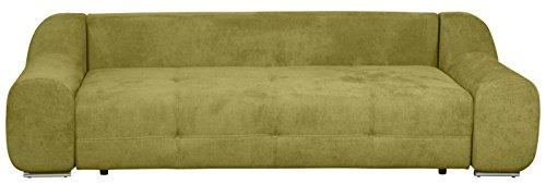 Cavadore Big Sofa Benderes / Moderne Couch mit Steppung und Ziernaht / Mit Kisseneinsatz / Chromfüße / 266 x 70 x 102 (B x H x T) / Farbe: Grün