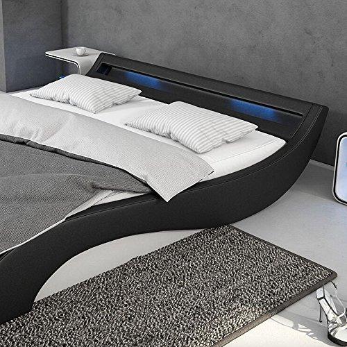 polster bett 180x200 cm schwarz wei aus kunstleder mit blauer led beleuchtung mavani das. Black Bedroom Furniture Sets. Home Design Ideas
