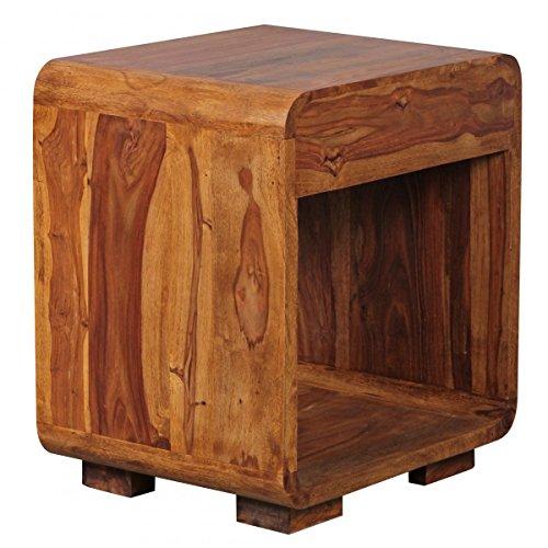 Nachttisch Massiv-Holz Sheesham Design Nachtkommode 55 cm hoch mit Schublade Nachtschrank für Boxspringbett