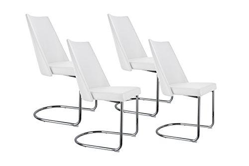 Cavadore Schwingstuhl Merlin / Freischwinger ohne Armlehne in modernem Design / Lederimitat / 4 Stühle Weiß mit Kunstleder / 48 x 96,5 x 58 cm (BxHxT) / 4er Set