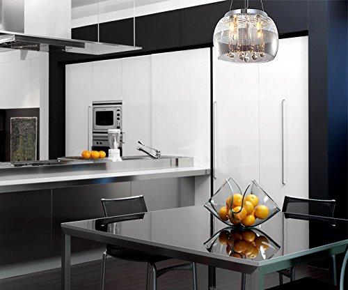 Kristall Deckenlampe Pendelleuchte Deckenleuchte Hängeleuchte Lüster Kronleuchter Esszimmer Glas Lampenschirm Design Modern 30cm 4xG9 Fassungen