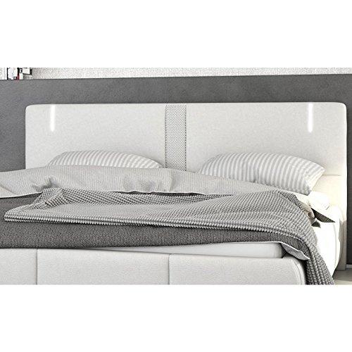 Innocent Polsterbett aus Kunstleder weiß 180x200cm mit LED und Lautsprecher Ricci mit Lattenrost