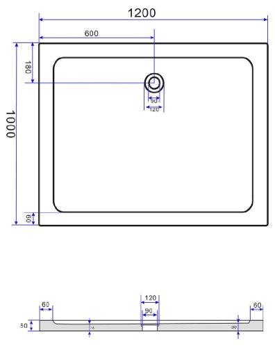 50 mm Duschtasse 120 x 100 cm (schwarz)