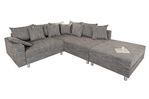 design ecksofa mit hocker loft strukturstoff grau. Black Bedroom Furniture Sets. Home Design Ideas
